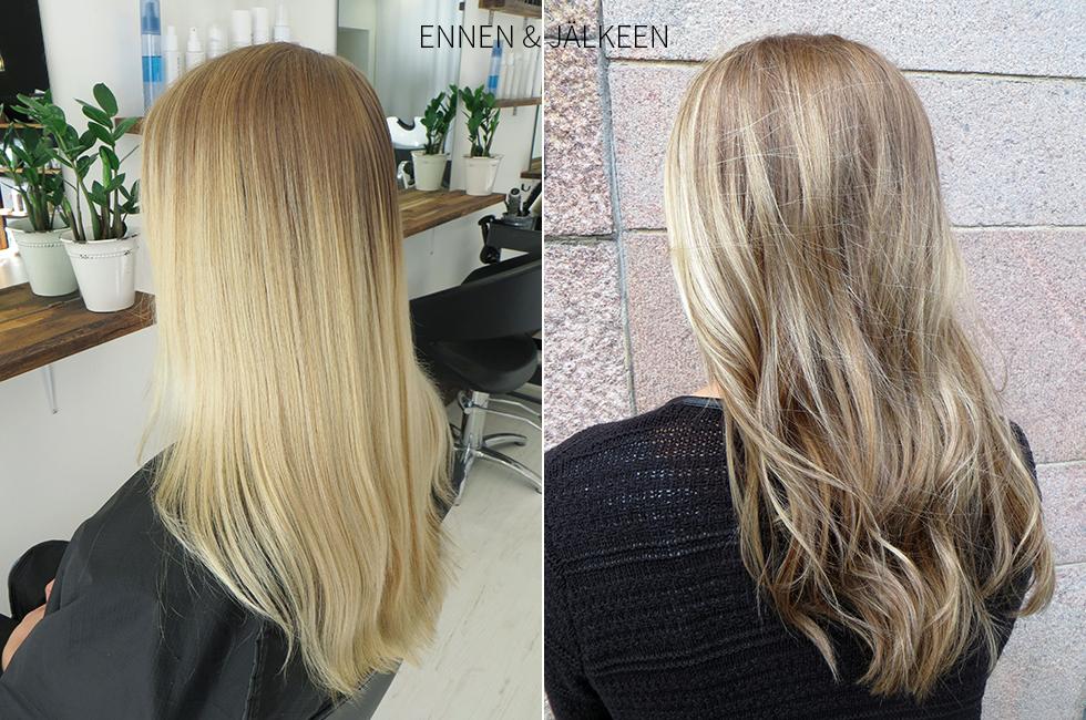 raidoitetut vaaleat hiukset